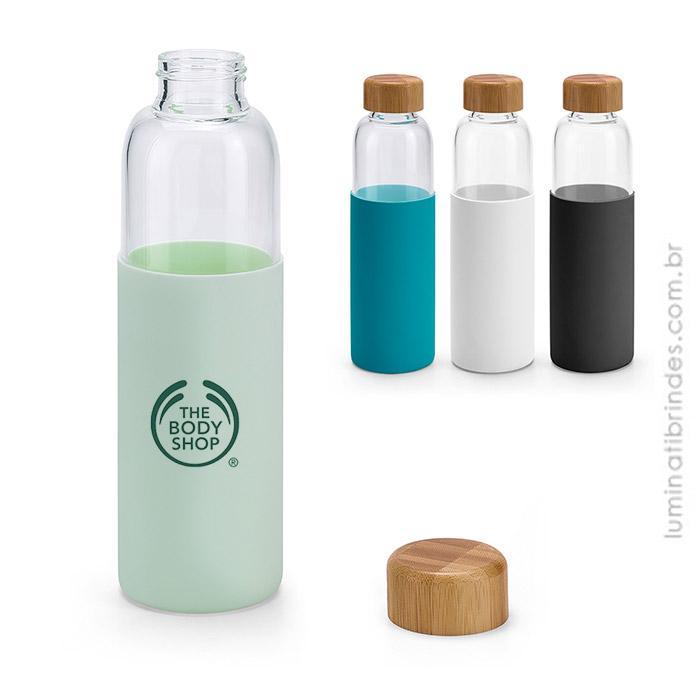 Squeeze Vidro e Tampa Bambu Bottle
