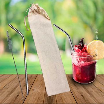 Kit Sustentável - Canudo Inox Curvado + Escova