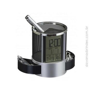 Relógio Porta Caneta TIME SILVER